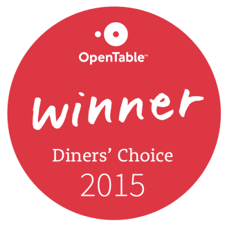 OpenTable Winner Diner's Choice 2015